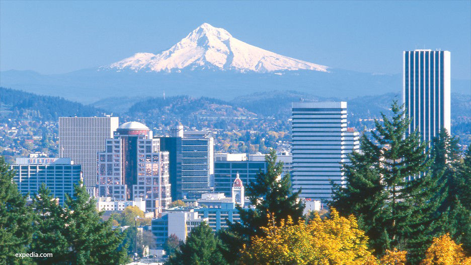 Photo of Portland Oregon and Mount Hood Oregon