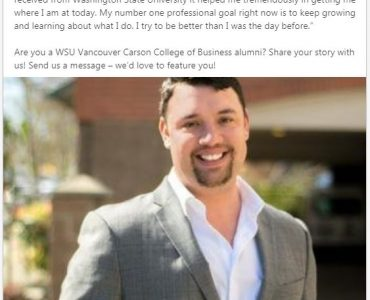 Blake Federinko – Featured on WSU Vancouver Carson College